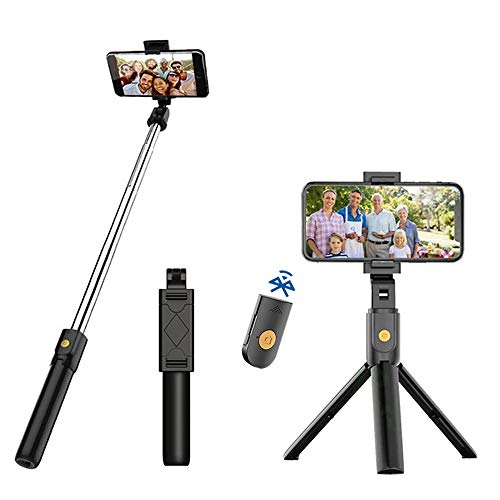 Fomoyi Palo selfie con Bluetooth, 3 en 1, extensible y portátil, con mando a distancia inalámbrico desmontable para viajes, compatible con iPhone/Samsung/Huawei y más