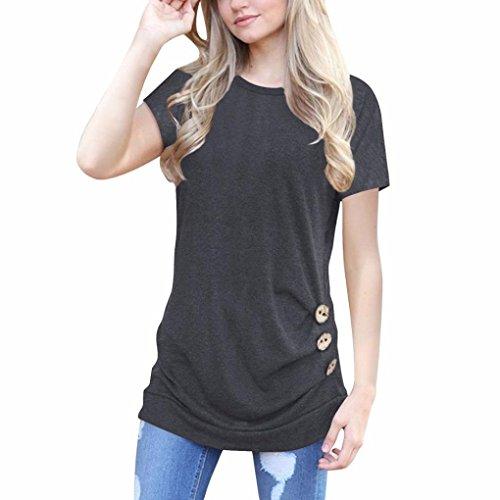 MORCHAN Les Femmes à Manches Courtes lâche Bouton Garniture Chemisier Couleur Unie col Rond Tunique T-Shirt (XL, Ggris foncé)