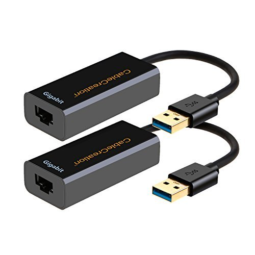 USB 3.0 Gigabit Adapter (2-Pack), CableCreation USB to RJ45 Network Adapter Supporting 10/100/1000 Mbps for Windows, Mac, macOS, Linux, Black