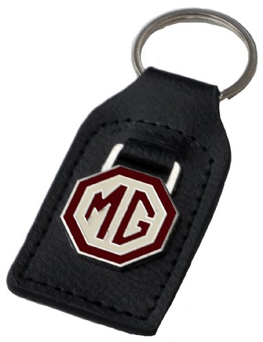 MG (MGB) Brown/Creme Leather and Enamel Key Ring Key Fob