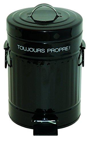 Incidence Paris 75194 Poubelle-Rétro 3 L-Toujours Propre, Acier, Noir, 17 x 17 x 27 cm