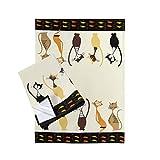 SPOTTED DOG GIFT COMPANY Lot de 2 Torchons de Cuisine Coton, Serviettes de Cuisine, Lavable 50 x 70 cm, Motif Chats Noir, Cadeau Chat Original pour Amateurs des Animaux