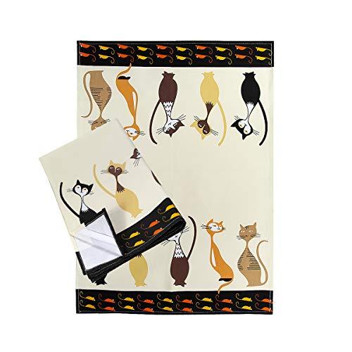 Paños de Cocina, 100% Algodon 50 x 70 cm, Trapos de Cocina, Juego de 2 con Diseño de Gato, Regalos Originales para Mujer Amantes de los Gatos y Animales