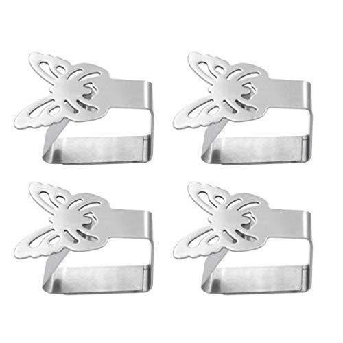 TOPBATHY 4 pinzas de acero inoxidable para manteles, pinzas para mesa, soporte para manteles, cubiertas (mariposa)