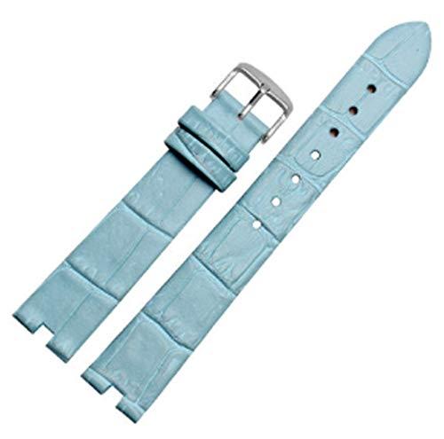 Correa Richie de 16 mm x 4 mm, elegante correa de piel para mujer con cierre de hebilla Omega De Ville, Azul cielo (hebilla plateada).