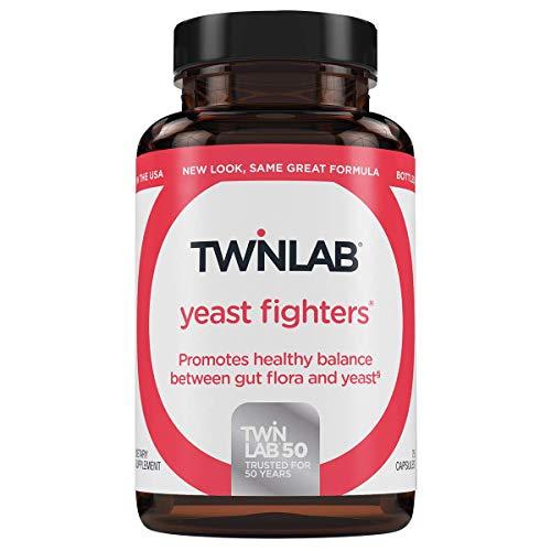 TwinLab Yeast Fighters Fiber Supplement - Prebiotics and Probiotics For Gut Health & Digestive Health - Men & Women's Probiotic Featuring Lactobacillus Acidophilus & Psyllium Husk - (75 Caps)