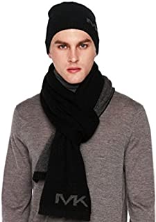Michael Kors Men's Scarf and Beanie Set, Black and Dark Gray, One Size