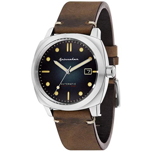 SPINNAKER Men's Hull 42mm Leather Band Steel Case Automatic Watch...