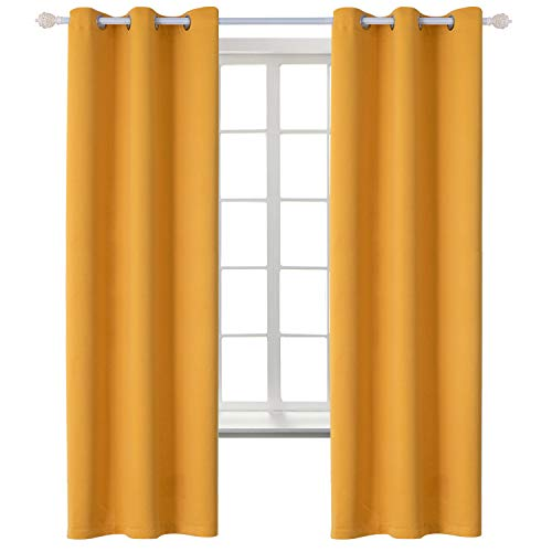 BGment Blackout Curtains for Kids Bedroom - Grommet Thermal Insulated Room Darkening Curtains for Living Room, Set of 2 Panels (42 x 72 Inch, Mustard Yellow)