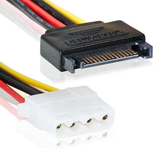 SATA 15pin Stecker zu 4 Pin MOLEX IDE Buchse | Adapter Stromanschluss | 15cm | Splitter | Power 15-pin-4-pin/Buchse | Strom-Kabel Stromstecker Anschlusskabel Stromanschluss –MOVOJA
