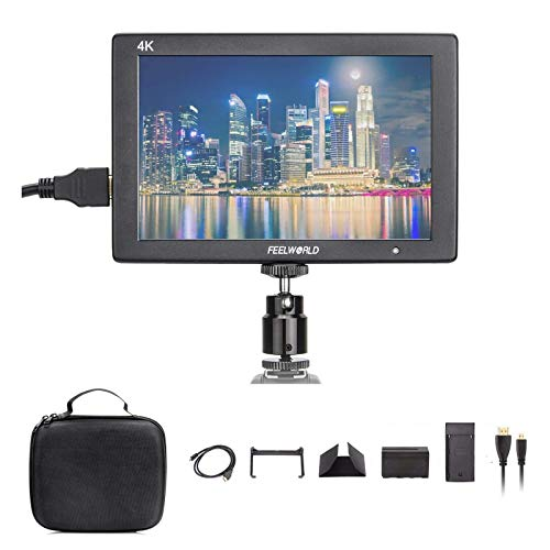 """FEELWORLD T7 +Case+Battery+Charger, 4K On-Camera Monitor Full HD 1920x1200 Pixels 7"""" IPS Screen Video Display,7"""" 4K HDMI Aluminum Metal Frame Video Monitor for Camera/Video w/Mini & Micro HDMI Cable"""
