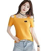 [YYQ-SHOP]半袖 tシャツ レディース ゆったり オフショルダー カットソー ボートネック セクシー ティーシャツ 快適な 肩出し ファッション Tシャツ 韓国風 ストリート系 白 夏(2オレンジ)