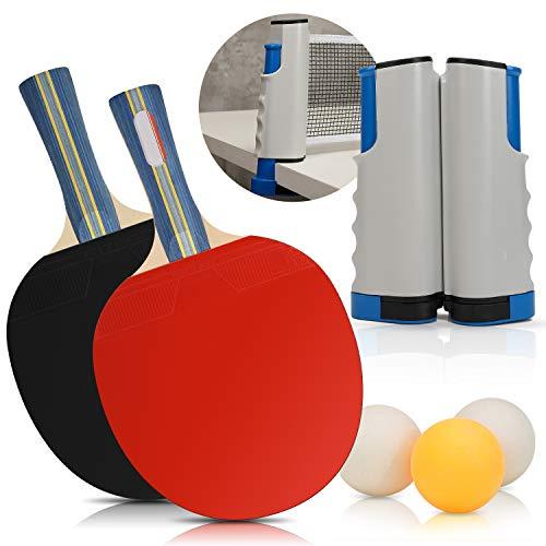 Suny Smiling Pong Set – Incluye red de ping pong para cualquier mesa, 2 palas de ping pong/raquetas, 4 pelotas de ping pong, juego portátil de tenis de mesa, accesorios para el hogar y al aire libre