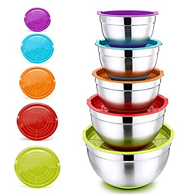 Mixing Bowls with Lids, PP CHEF Stainless Steel...