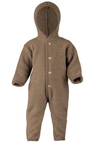 Engel Baby Overall mit Kapuze Wollfleece, 74-80/74/80, walnuss Melange