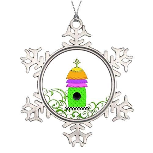 Cukudy Dambord Basis Vogelhuisje Glas Kerst Vogelhuisje 2018 Kerstmis Sneeuwvlok Ornament Grappige Vakantie Kerstmis Boom Decoratie Gift