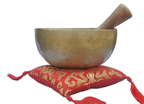 Cuenco tibetano antiguo de 7 pulgadas, con diseño de chakra de la corona B, excelente cuenco de canto antiguo, cuenco de canto batido a mano de Nepal, cuencos budistas