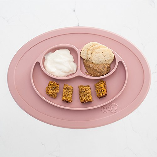 ezpz Mini Mat - One-piece silicone placemat + plate (Gray) (Blush)