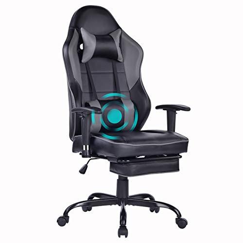 Wolmics Massage Gaming Stuhl - Hohe Rückenlehne Racing Computer Schreibtisch Bürostuhl Drehbarer Ergonomischer Chefsessel aus Leder mit Fußstütze und Verstellbaren Armlehnen (WB-8332GREY)