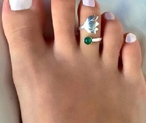◦ • ● ◉✿ ANILLO DE PIE CON FLOR DE LOTO ✿◉ ● • ◦ anillo ajustable con flores y vidrio verde, yoga, anillo de yoga, anillo de pie, anillo de dedo del pie