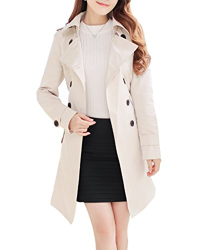 NANJUN Women's Double Breasted Trench Coat Overcoat (Beige 8)