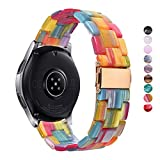 DEALELE Band Compatible with Galaxy Watch 46mm, 22mm Colorful Resin with Stainless Clasp Strap Replacement for Samsung Gear S3 Frontier/Classic/Huawei Watch GT2 46mm Women Men (Rainbow)