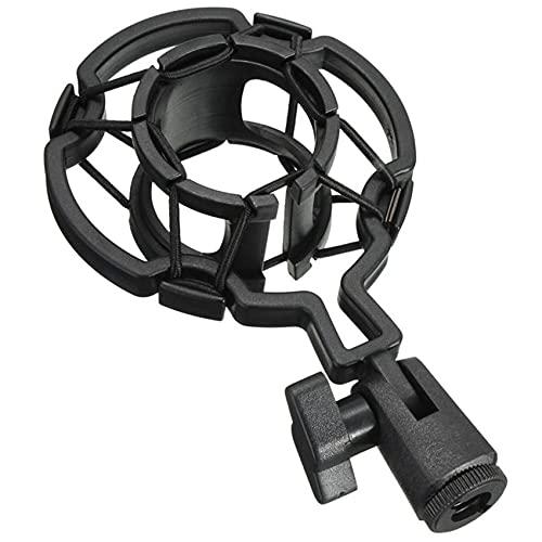 Soporte universal para micrófono Shock Mount para micrófono de condensador de 40 mm - 45 mm, a prueba de vibraciones, soporte para micrófono para grabación, radiodifusión, estudio (negro)