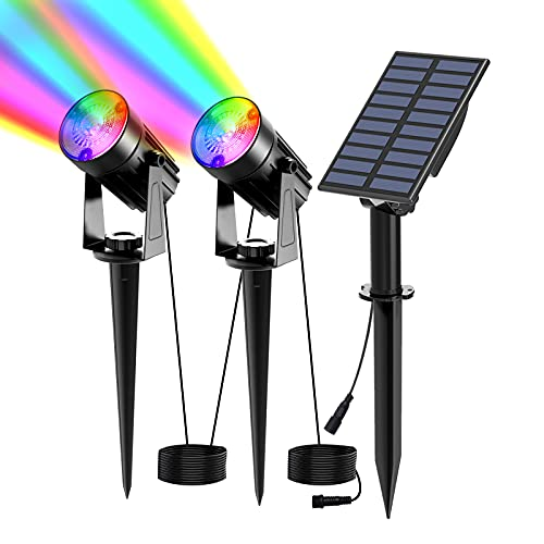 T-SUN Luces Solares Led Exterior Jardin, 2 en 1 LED Foco Solar con RGB 6 Cambio de Color 2 Nivels Brillo Ajustables Impermeable 270º Gran Angular de Luz Iluminación para Camino Césped Entrada.