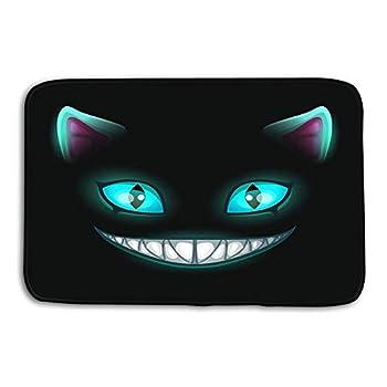 Kitchen Floor Bath Entrance Door Mats Rug Fantasy Scary Smiling cat face Black Fantasy Scary Smiling cat face Black Cheshire cat Fun Non Slip Bathroom Mats 23.6 x 15.7