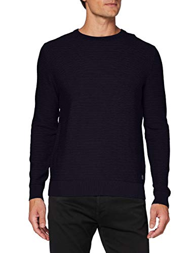 TOM TAILOR Herren Modern Basic Struktur Sweatshirt, 10690-Knitted Navy, L