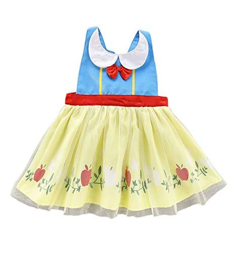 CHICTRY Tablier Anti-Huile Bébé Fille Déguisement Petite Princesse Mignon Tablier pour Cuisine Dessin Cadeau Anniversaire Carnaval Cosplay Fête Bleu + Jaune L