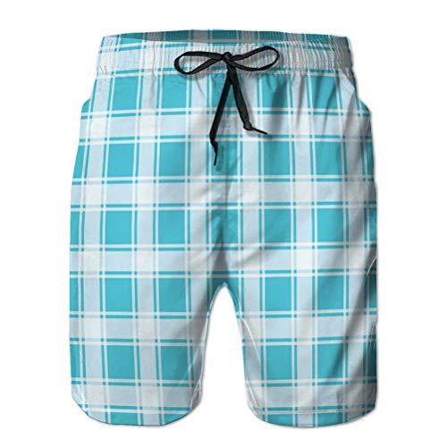 vbndfghjd Pantalones Cortos de Playa Estampados para Hombre Bañador de Secado rápido Turquesa sin Costuras Fondo de Cuadros