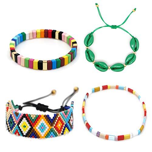 N|A Yuanshenortey - Juego de 4 pulseras elásticas, diseño de azulejos de colores, esmaltados, para niñas y mujeres, regalo