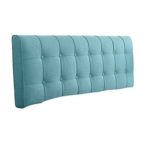 Headboard Cushion Fashion Upholstered Headboard Pillow Bedside Cushion Wedges Backrest Waist Pad Cotton And Linen Soft Case Home Bedroom Waist Pad Washable ( Color : Lake Blue , Size : 150x10x58cm )