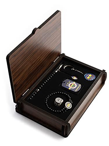 Gök-Türk Handgemachte Schatulle 'Fenerbahce' Schmuck Set für Herren: Set aus Halskette, Ring, Armband, Gebetskette - Tesbih, Schlüsselanhänger