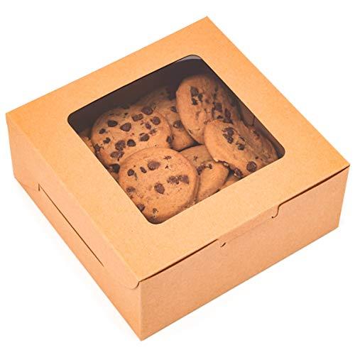 Juvale - Caja de pastelería con ventana (15,2 x 15,2 x 6,3 cm, papel kraft, 50 unidades)