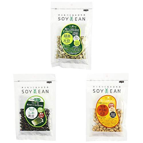 soy美ean ねぎ 塩 黒豆 58g 食べる緑茶大豆 72g 味噌 きな粉 大豆 72g 3種セット 宮本邦製菓