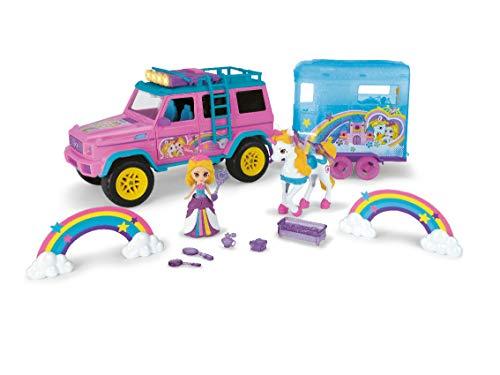 Dickie Toys Drivez Trailer, Mercedes Benz AMG 500 4x4, con Caballo y Colgante, Unicornio, Princesa, Arco Iris, con Muchos Accesorios, 40 cm, Color Rosa/Turquesa