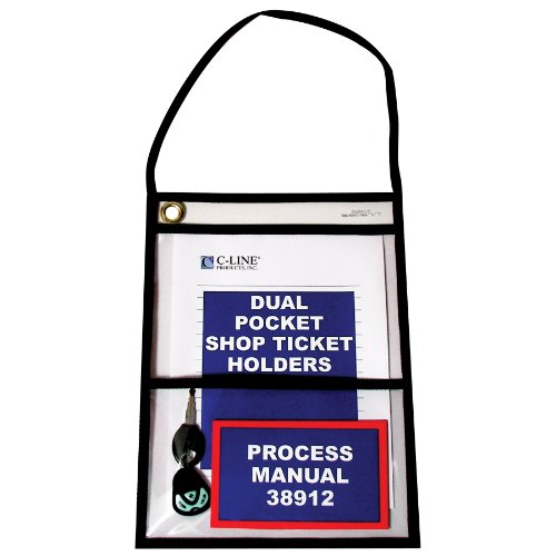 C-Line Stitched Dual Pocket Shop Ticket Holder with Hanging Strap, Both Sides Clear, 9 x 12 Inches, 15 per Box (38912)