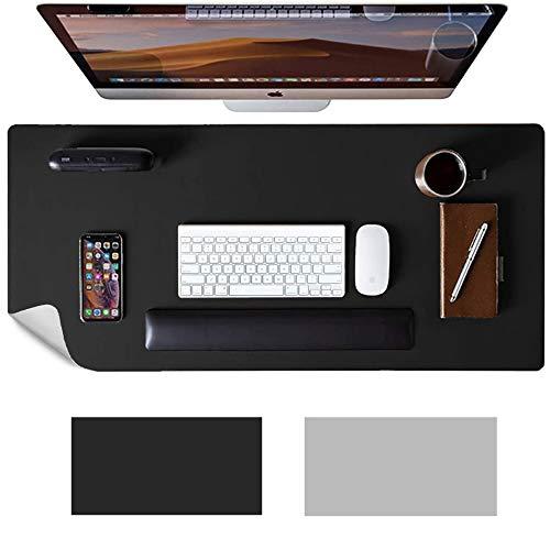 Anmete Tapis de table imperméable en cuir PU, 90 × 45 × 0,2 cm, double face, dessous de main, antidérapant, pour souris Pad Gaming, ultra fin, pour bureau, ordinateur portable, PC