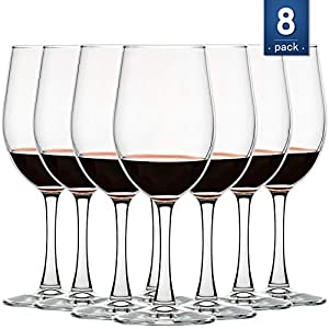 Copas de vino multiusos [juego de 8, 12 onzas] sin plomo, clásico