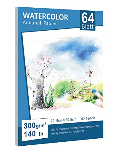 Premium Aquarellpapier (22.9 x 30.5cm, 64 Einzelne Blätter), Aquarellblock Glatt Watercolor Paper Strukturiert & Matt Aquarell Papier für Aquarellmalerei Wasserfarben Gouache Acryl Aquarell