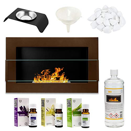 GMT - Bioethanol Eco Smokeless Fireplace Brown 65x40cm with Protective Glass - Indoor Decorative Wall mounted or recessed Fire Heater Chimney - Easy to Mount with Bio Liquid Fuel & Stones & Aroma Oils