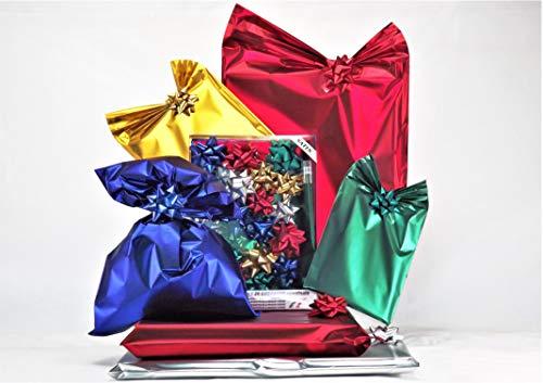Set de preparación de paquetes de regalo Kit mediano 20sobres de polipropileno de colores surtidos con cierre adhesivo, incluye 20lazos a juego., color transparente MEDIUM SATIN