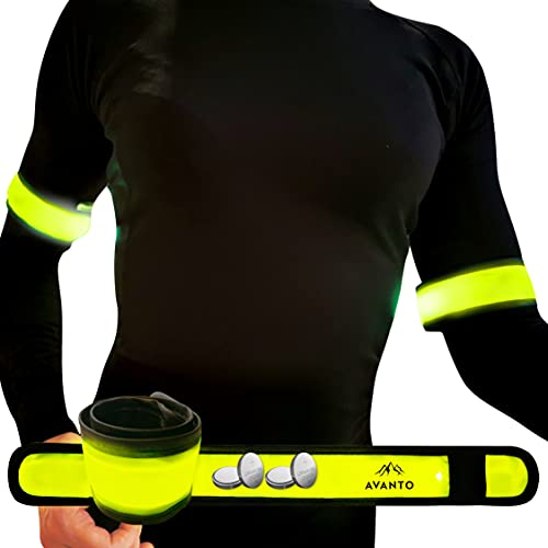 AVANTO Running Led Armband with Extra Batteries, High Visibility Safety Lights 2-Pack, Reflective Arm Bands for Runners, Slap Bands, Running Lights for Runners, Reflective Gear for Walkers (Yellow)