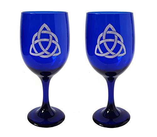 Trinity Celtic Knot Cobalt Blue 11.5 oz Wine Glass Set of Two