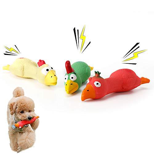 PETTOM 3 Stücke Quietschspielzeug für Hunde, Hundespielzeug Gummi Huhn, Kauspielzeug für Hunde und Welpen (Rot+Gelb+Grün)