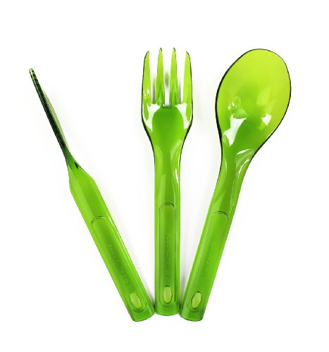 GSI Outdoors Stacking Cutlery Set de Couverts, Mixte Adulte, Green, Taille Unique