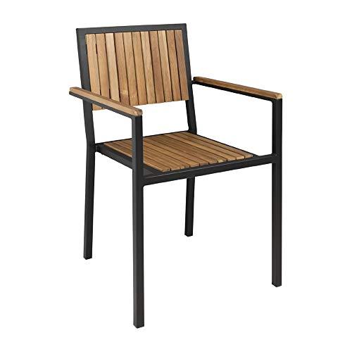 Bolero DS151 Stahl- und Akazienholzstühle mit Armlehnen, 4 Stück, Braun, 86cm x 55cm x 53cm