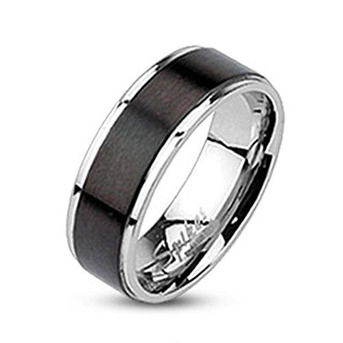 Tapsi´s Coolbodyart®| Band Ring Edelstahl 7mm Breit Gebürstet Schwarz Silber 50(16)
